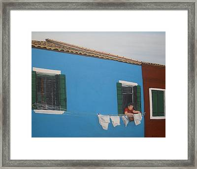 Framed Print featuring the painting Laundry Day by Betty-Anne McDonald