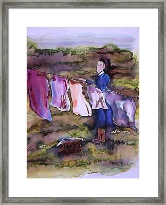 Laundry Day Framed Print by Carolyn Doe