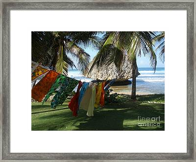 Laundry Day In Barbados Framed Print