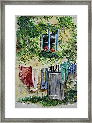 Framed Print featuring the painting Laundry Day In France by Jan Dappen