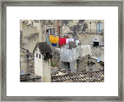 Laundry Day In Matera.italy Framed Print