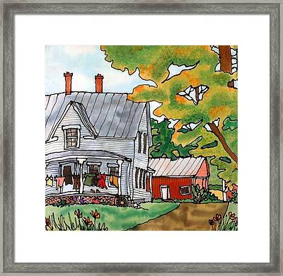 Laundry Day Framed Print by Linda Marcille