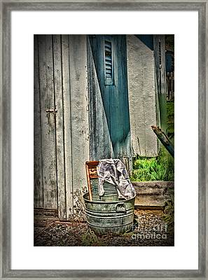 Laundry Day The Old Fashion Way Framed Print