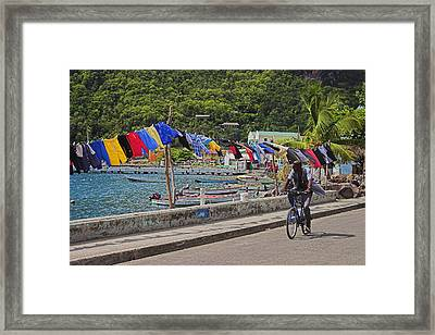 Laundry Drying- St Lucia. Framed Print by Chester Williams
