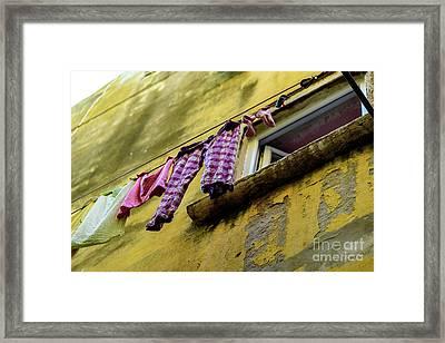 Laundry Hanging In Rovinj, Croatia Framed Print