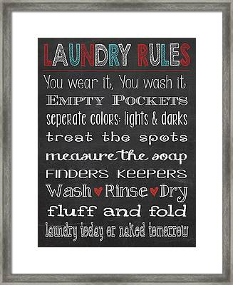 Framed Print featuring the digital art Laundry Room Rules Chalkboard Sign by Jaime Friedman