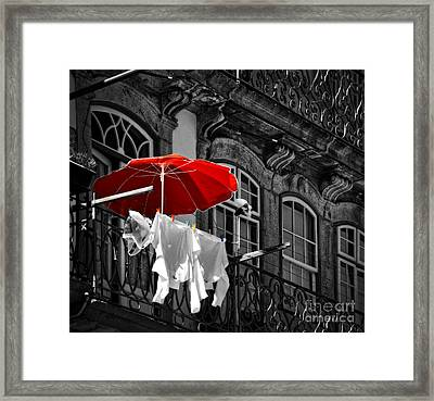 Laundry With Red Umbrella In Porto - Portugal Framed Print