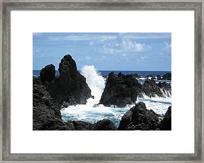 Laupahoehoe Rocky Coast Framed Print by Kerri Ligatich