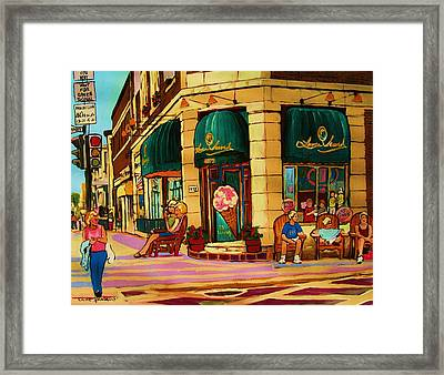 Laura Secord Candy And Cone Shop Framed Print by Carole Spandau