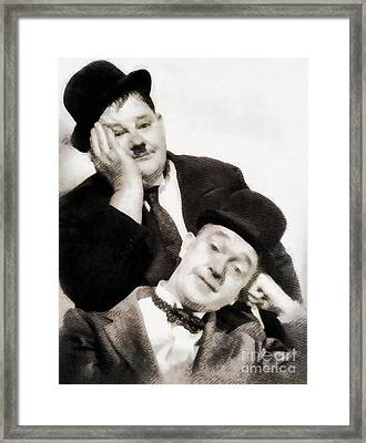 Laurel And Hardy, Vintage Comedians Framed Print by John Springfield