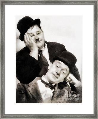 Laurel And Hardy, Vintage Comedians Framed Print