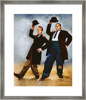 Laurel And Hardy, Vintage Hollywood Legends Framed Print by Mary Bassett
