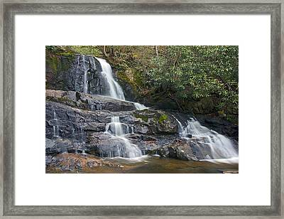 Laurel Falls In Great Smoky Mountains National Park Framed Print by Brendan Reals