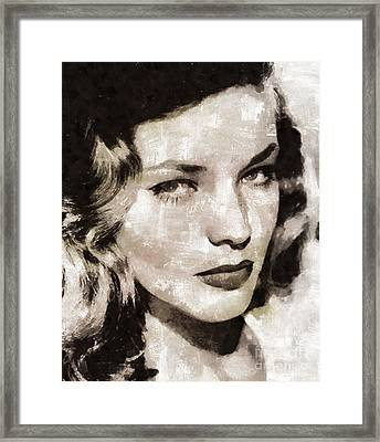 Lauren Bacall, Vintage Actress. By Mary Bassett Framed Print by Mary Bassett