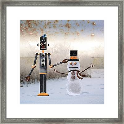 Laurence Builds A Snowman Framed Print by Joan Ladendorf