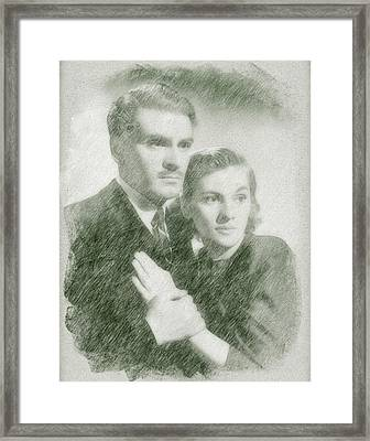 Laurence Olivier And Joan Fontaine Framed Print by John Springfield