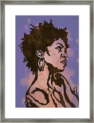 Lauryn Hill Pop Stylised Art Sketch Poster Framed Print by Kim Wang