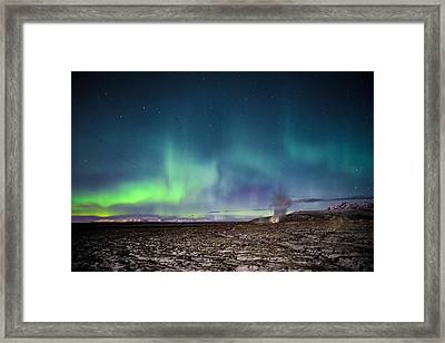 Lava And Light - Aurora Over Iceland Framed Print