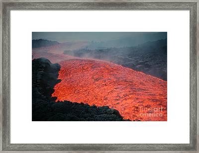 Lava Flow During Eruption Of Mount Etna Framed Print