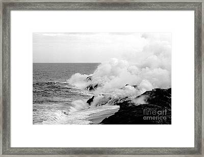 Lava Flowing To The Sea Framed Print by Susan Chandler