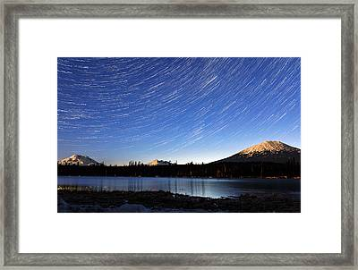 Framed Print featuring the photograph Lava Lake Star Trails by Cat Connor