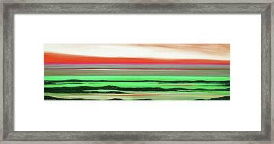 Lava Rock Abstract Panoramic Sunset In Red And Green Framed Print