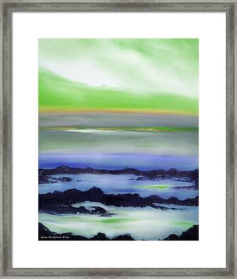Lava Rock Abstract Sunset In Blue And Green Framed Print