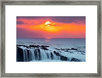 Lava Rock And Vog Sunset Framed Print