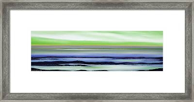 Lava Rock Panoramic Sunset In Green And Blue Framed Print by Gina De Gorna