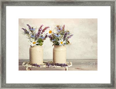 Lavender And Daisies Framed Print by Amanda Elwell