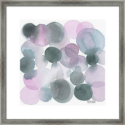 Lavender And Gray Circles Abstract Watercolor Framed Print