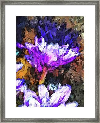 Lavender And White Flower With Reflection Framed Print