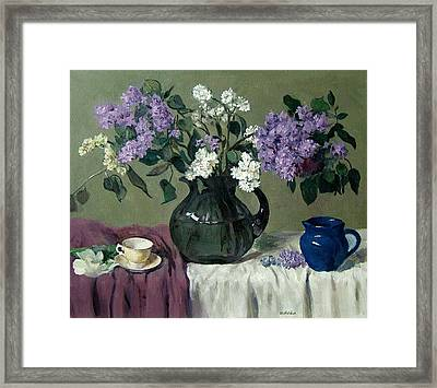 Lavender And White Lilacs With Blue Creamer And Teacup Framed Print