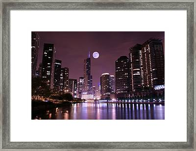Lavender Chicago Nights Framed Print by Frozen in Time Fine Art Photography