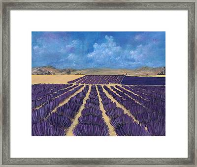 Framed Print featuring the painting Lavender Field by Anastasiya Malakhova