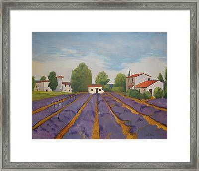 Framed Print featuring the painting Lavender Field by Betty-Anne McDonald