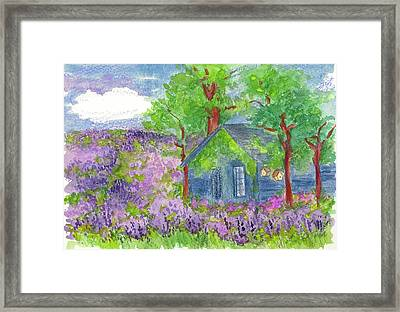 Framed Print featuring the painting Lavender Fields by Cathie Richardson