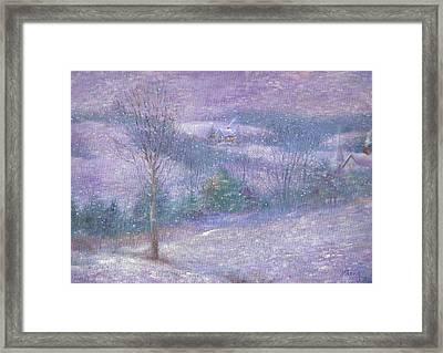 Lavender Impressionist Snowscape Framed Print