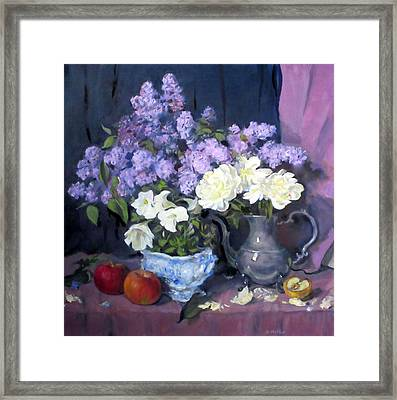 Lavender Lilacs, White Peonies, White Lisianthus, Framed Print
