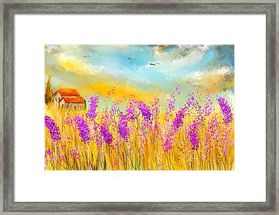 Lavender Memories - Lavender Field Art Framed Print by Lourry Legarde