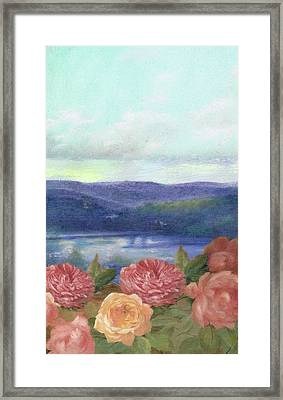 Lavender Morning With Roses Framed Print
