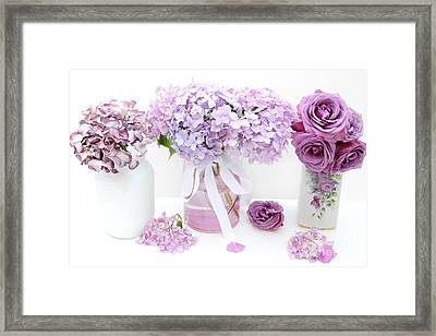 Lavender Purple Shabby Chic Romantic Cottage Hydrangeas - Shabby Chic Cottage Hydrangeas Roses Art Framed Print by Kathy Fornal