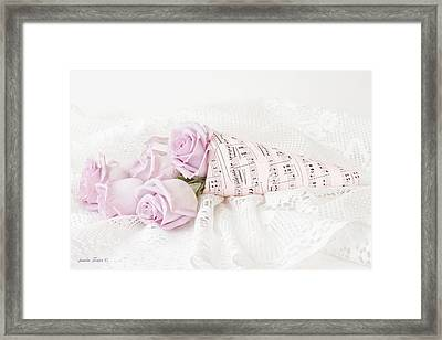 Lavender Roses And Music Framed Print by Sandra Foster
