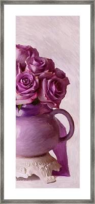 Lavender Roses And Tea Pot Framed Print by Sandra Foster