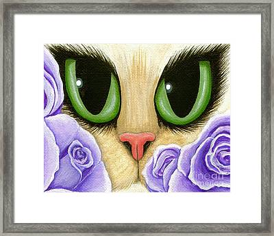 Framed Print featuring the painting Lavender Roses Cat - Green Eyes by Carrie Hawks