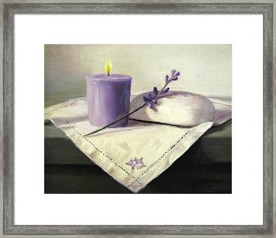 Lavender Sprig Framed Print by Linda Jacobus