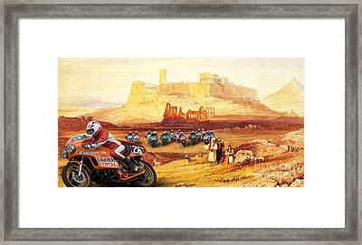 Laverda 26 Pole Position On A Athens Classic Painting Framed Print by Pablo Franchi