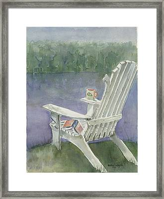 Lawn Chair By The Lake Framed Print by Arline Wagner
