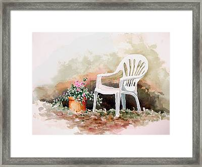 Lawn Chair With Flowers Framed Print by Sam Sidders