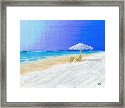 Lawn Chairs In Paradise Framed Print by Jeremy Aiyadurai
